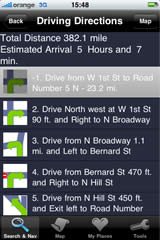 iPhone screen — Driving direction