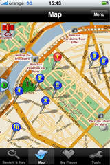 iPhone screen — street map