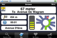 iPhone landscpae screen — Navigation in arrow mode