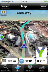 iPhone screen — 'Bird view' navigation over arieal photo