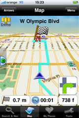 iPhone screen — 'Bird view' navigation over street map